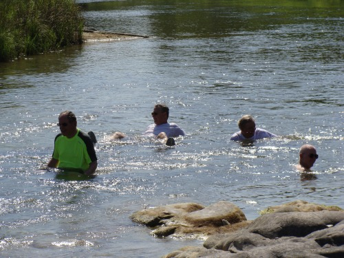 Cooling off in the Llano River at Castell after the ride