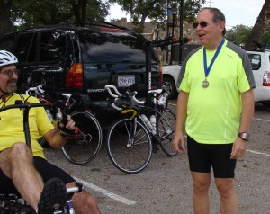 Marble Falls CASA 5K 2nd in Age Group (age 66) winner and Tour Rider Gil Jones
