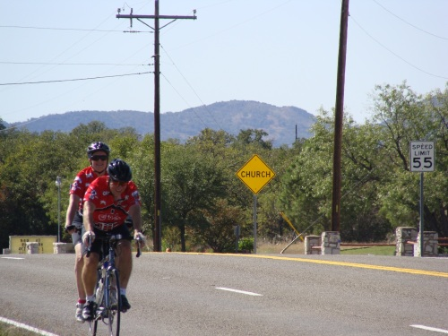 Cycling, Tandem Bike, FM1431 and TX29, Fuzzy's Corner, Beth Peterson, Pat Peterson