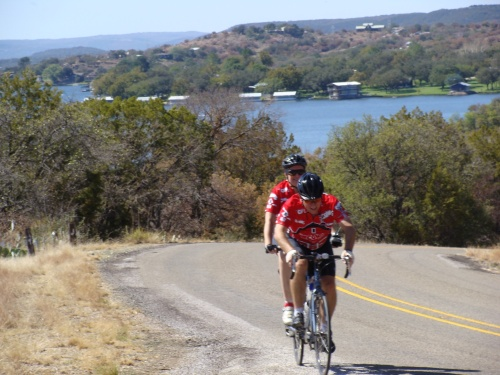 cycling, tandem bike, Pat Peterson, Beth Peterson, Inks Lake, Texas Park Road 4