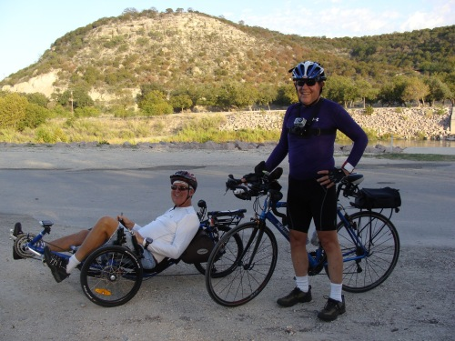 Cycling from Lake Buchanan across the Texas Hill Country to Junction Texas via FM1871, Catrike, Scattante 570, Gil Jones, Don Bynum