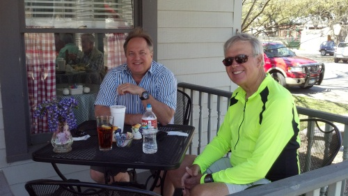 Mark Belcher and I had some laughs and a great lunch at The Berry Street Bakery in Llano.