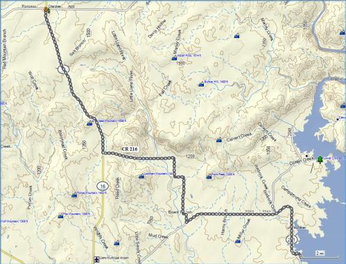 The 53 mile route from Buchanan to Cherokee and back